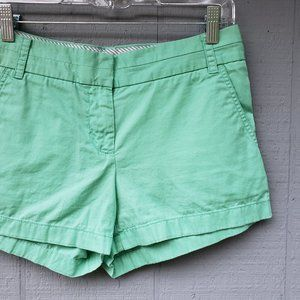 J Crew Flat Front Mint Green Chino Shorts Size 2
